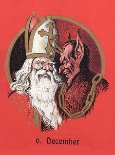 A greeting card depicting Saint Nikolaus and Krampus in Austria.