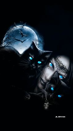 Dark Fantasy Art, Fantasy Women, Gothic Wallpaper, Cat Wallpaper, Wallpaper Backgrounds, Black Cat Art, Black Cats, Free Live Wallpapers, Eyes Artwork