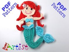 Mermaid Crochet Applique Pattern by HomeArtist on Etsy