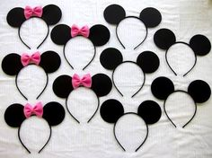 Items similar to each HANDMADE 17 count half Mickey Mouse ears and half Minnie mouse ear headbands lot pink or red affordable on Etsy Elmo Party, Mickey Party, Minnie Mouse Party, 50 Party, Elmo Birthday, Halloween Birthday, Dinosaur Birthday, Birthday Games, Dinosaur Party