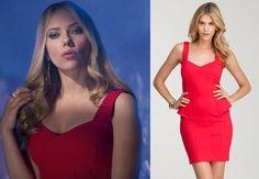 Don Jon movie fashion: Barbara's (Scarlett Johansson) Bebe Peplum Power Knit Dress (the costume designer altered it to take the peplum off) #getthelook #donjon #scarlettjohansson #bebe