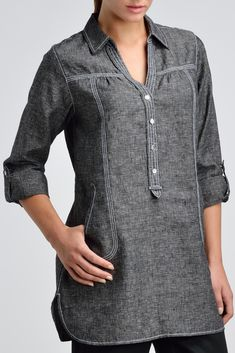 It is a basic piece of casual collar shirt. There is a button on elbow side that you can adjust to be a roll-up sleeves. The decorated stitching around seam, front closures, oval shape pocket and hemline are the main focus. New Kurti Designs, Kurta Designs Women, Silk Shirt Dress, Long Sleeve Tunic, Collar Shirts, Corsage, Clothes For Women, Fashion Outfits, Point Collar