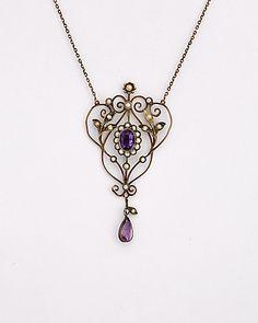 Rue La La — 1880s 10K 1.30 ct. Amethyst & 1-2mm Pearl Necklace