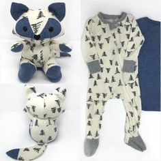 This adorable baby keepsake fox was made from a tree print sleeper and blue onesie. Reuse Old Clothes, Old Baby Clothes, Baby Clothes Patterns, Diy Clothes, Recycled Old Clothes, Recycled Toys, Baby Memories, Baby Keepsake, Baby Crafts