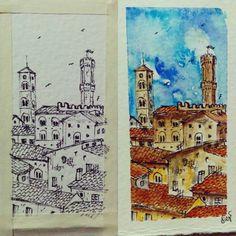Sempre piú miniatura... Volterra 3x7cm #watercolor #miniature #volterra #picoftheday #art