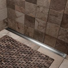 Wet room ideas - A mix of tiles using large smooth tiles for the flooring, but rough smaller tiles for the walls. Small Tiles, Walk In Shower Designs, High Line, Wet Rooms, Shower Ideas, Scandinavian, Tile Floor, Room Ideas, Smooth