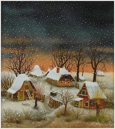 Ivan Generalic (Croatian, Winter Landscape 1979 Oil on glass Signed lower right: I. 1979 x - Available at 2007 CROW Art Partnership. Fork Art, Winter Illustration, Photo Images, Art Pictures, Photos, Naive Art, Winter Landscape, Christmas Art, Belle Photo