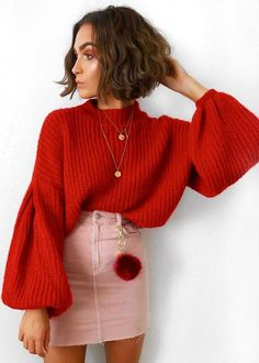 Rashida Rød Sweater