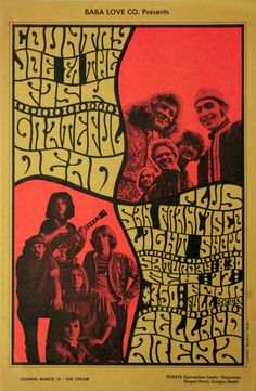 Country Joe & the Fish / Grateful Dead - - - February 17, 1968 at Selland Arena, Fresno, CA. Artist: Cheryl Rankin.