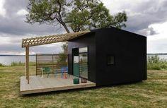 günstige schwarz exterior veranda minihäuser grasfläche