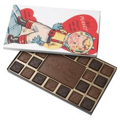 Retro Vintage boy Holiday box chocolate - click/tap to personalize and buy
