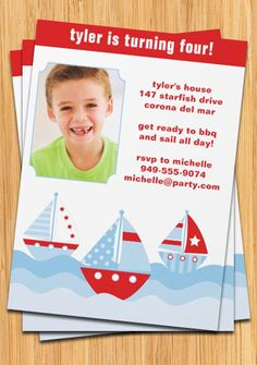 Sailboat Birthday Party Invitation by eventfulcards on Etsy