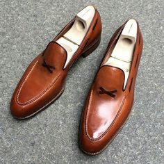 New Handmade men Tan brown leather shoes moccasins b36b78ec9d0