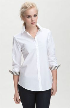 Burberry Brit Shirt with Check Contrast  48ee27dc71