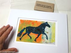 ON THE RUN- a gelatin monotype print - it is one of a kind wall art decor for your home or office. This print was inspired by the horses I had as a