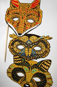 Forest Masks Poster by Caitlin Keegan, via Behance Day Of The Dead Mask, Paper Art, Paper Crafts, Art Projects, Projects To Try, Carnival Masks, Venetian Masks, African Masks, Arts Ed