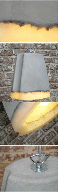 [Concrete Lighting by Renate Vos] The lights are made out of experimental materials, combining of concrete and silicone rubber.: