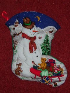 Medium 'Snowman' Quilted Christmas Stocking - Approx Size: (H) x (W) Quilted around the design to create a effect. Plain fabric on the back. This stocking can be personalised with a child's name in fabric paint. Left & Right facing boot available. Quilted Christmas Stockings, Kid Names, Snowman, 3d, Christmas Ornaments, Medium, Create, Holiday Decor, Children