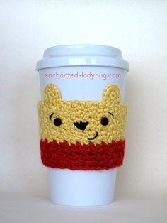 Free crochet winnie the pooh coffee cup cozy pattern. A crochet cozy pattern of one of Disney's most loved bears! Free crochet pattern download.