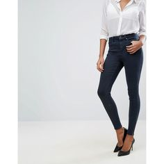 ASOS 'SCULPT ME' Premium Jean in Matilda Dark Wash with Zip Hems ($45) ❤ liked on Polyvore featuring jeans, blue, high-waisted skinny jeans, asos, asos jeans, high waisted jeans and super high-waisted skinny jeans