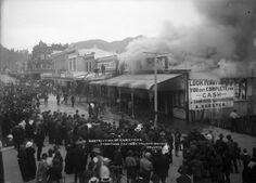 Scene during the fire at Karsten's furniture factory, Bridge Street, Nelson