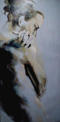 Artist: Veronika Priehodova, Italy {figurative discreet semi-nude female human body woman painting}