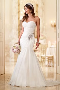 Soft Organza fit-and-flare strapless wedding dress by Stella York, Spring 2015