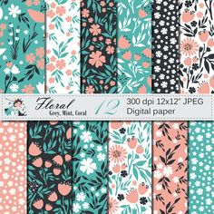Seamless Floral Digital Paper, Hand Drawn Flowers Seamless Pattern, Grey Mint Coral Floral Printable Scrapbook Paper by VRDigitalDesign on Etsy