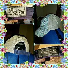 EUC Hat Great day trip hat with mesh top and adjustable back. Front has a dainty floral print in blue, green, white, and purple. Only wore a few tines in excellent used condition. Signatures Accessories Hats