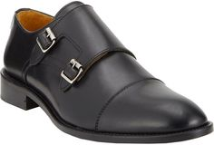 $378, Black Leather Double Monks: Barneys New York Cap Toe Double Monk Shoes. Sold by Barneys Warehouse. Click for more info: https://lookastic.com/men/shop_items/91215/redirect