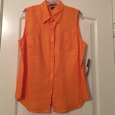 Orange sleeveless button up NWT Ralph Lauren orange sleeveless button up shirt. 100% linen. No stains, holes, etc. Ralph Lauren Tops