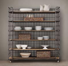 Shop for Circa 1900 Caged Baker's Rack Wide Single Shelving by Restoration Hardware at ShopStyle. Ikea Kitchen, Kitchen Shelves, Bakers Rack Kitchen, Kitchen Pantry, Industrial Bakers Racks, Bookshelves, Bookcase, Cuisines Diy, Home Hardware
