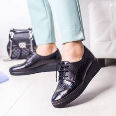 Pantofi Piele dama negri Sisoli All Black Sneakers, Oxford Shoes, Casual, Women, Fashion, Moda, Fashion Styles, Fashion Illustrations, Woman
