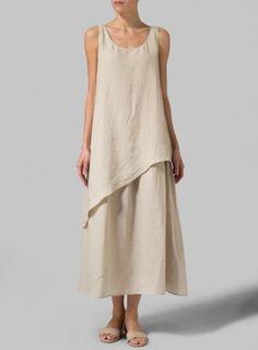 Linen Beige Layered Long Dress