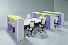 Bench style desks with sliding storage units separating each user - very novel!