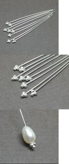 24 Gauge Thick Ball Sterling Silver Headpins 2 inch Long F08-100 pcs