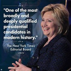 Just ONE of MANY endorsements for this amazing woman.  #HillaryForAmerica