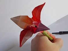 simple crafts making: orgami lilly flower making steps