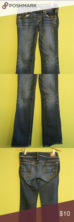 AEO sz 2 kick boot stretch pre-distressed jean waist-28  rise-7  inseam-31foot opening-16 wgt-1.2lbs #6332686504   06/13  5305 #noholesorstainsfound #excellentcondition #doesntlooklike itseverbeenworn if they have, maybe once for a bit. #somestretch  #americaneagleoutfitters #kickbootstretch #womenssize2  #lowrise #predistressed  #bundleandsave #julesplussizeshop I do not swap American Eagle Outfitters Jeans Boot Cut