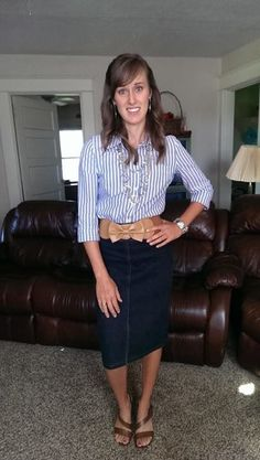 Cute and sharp casual! Blue and tan! Cute tan belt with a bow!!