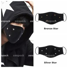 Designer Black Punk Chic Star 2 Layer Fashion Cotton Face Mask Mouth Muffle #Unbranded