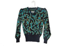 Vintage V Neck Puffy Sleeve Sweater Womens Patterned Pullover