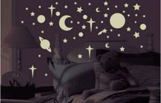 Glo In The Dark 258 Wall Stickers Stars Planets Moon Sun Space Room Decor Decals Wall Stickers Stars, Bedroom Stickers, Disney Wall Decals, Kids Wall Decals, Dark Ceiling, Ceiling Stars, Glow Stars, Space Themed Nursery, Quartos