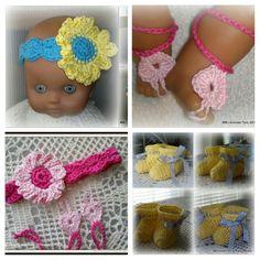 Virkattuja vauvojen asusteita, Crocheted accessories for baby's.