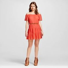 Women's Off the Shoulder Lace Belted Dress - 3Hearts (Juniors')