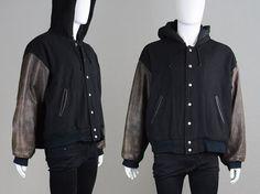 Vintage 90s Letterman Jacket Wool Jacket & Leather by ZeusVintage