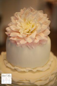 Northern Virginia Wedding Cake Ruffles Dahlia | Haute Cakes Pastry Shop