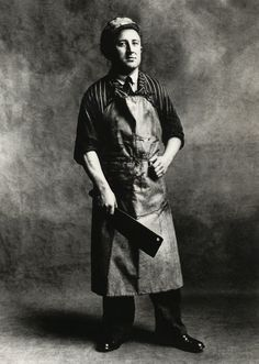 Irving Penn:Meat Carrier and Boner (A),London, 1950