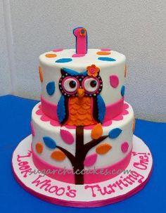 1st birthday owl cake - sugar chi cakes