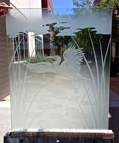 Dancing Egret Glass Window Etched Glass Asian Design Frosted Glass Panels with exquisite custom designs. Obscurity you need thru stunning art glass! Etched Glass Windows, Frosted Glass Door, Glass Wall Design, Glass Painting Designs, Entry Doors With Glass, Glass Shower Doors, Sand Glass, Glass Art, Glass Room Divider